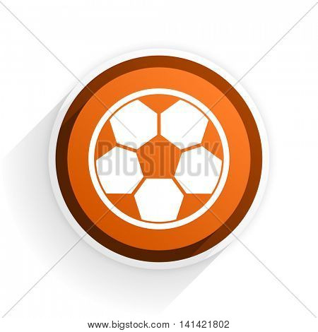 soccer flat icon with shadow on white background, orange modern design web element