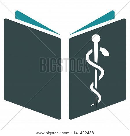 Drug Handbook vector icon. Style is bicolor flat symbol, soft blue colors, rounded angles, white background.