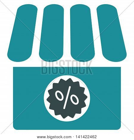 Drugstore Sale vector icon. Style is bicolor flat symbol, soft blue colors, rounded angles, white background.