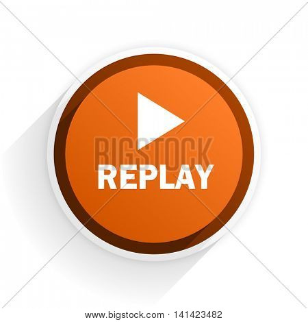 replay flat icon with shadow on white background, orange modern design web element