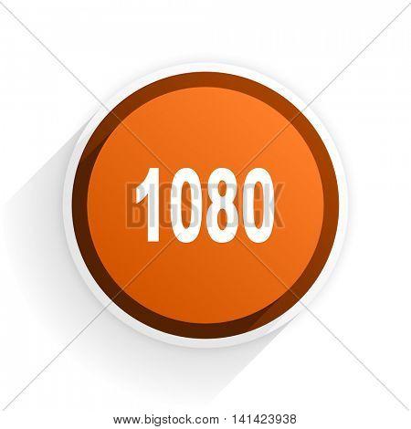 1080 flat icon with shadow on white background, orange modern design web element