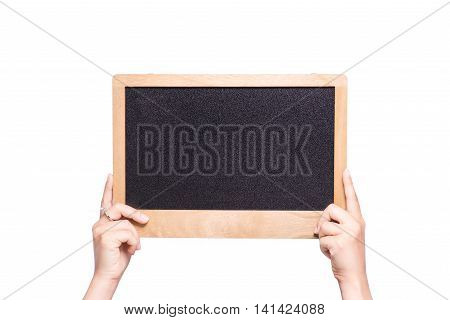 Female hands hold with the blank chalkboard