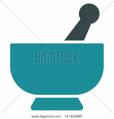 Mortar vector icon. Style is bicolor flat symbol, soft blue colors, rounded angles, white background.