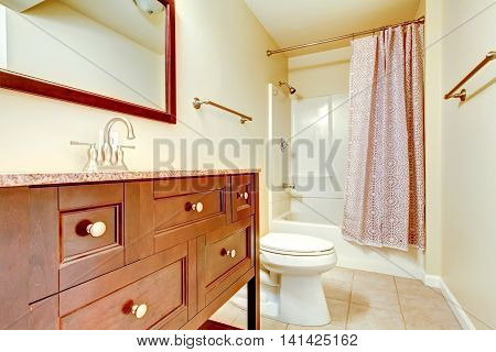 Nice Remodeled Bathroom Interior With Tile Floor.