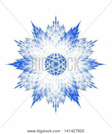 Computer generated fractal blue snowflake on white background