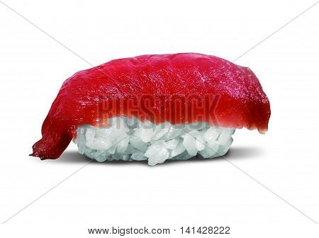 single served syake nigiri sushi made of tuna fish isolated on white background