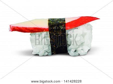 single served nigiri sushi made of kani kama isolated on white background