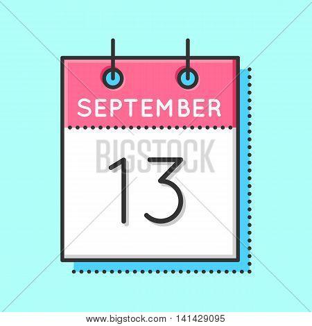 Vector Calendar Icon. Flat and thin line vector illustration. Calendar sheet on light blue background. September 13th