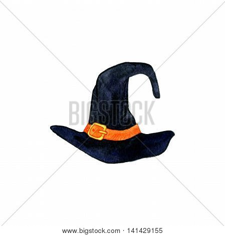 halloween symbol, watercolor black witch hat with a purple ribbon and a gold buckle, hand drawn illustration, isolated design element
