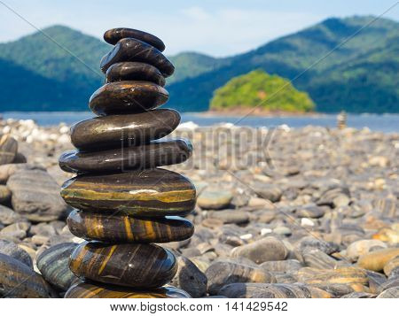 Black Stones Lipe Beach Mountain Background