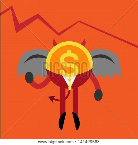 devil coin business man with down graph background