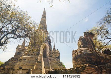 Pagoda Of Old Temple At Ayuthaya Province