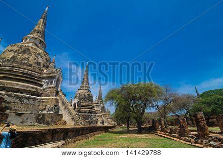 Pagoda of old temple at ayuthaya province Thailand