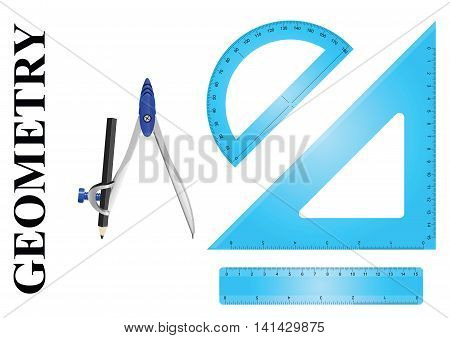 Geometry instrument set consisting of ruler protractor, setsquare and compass on white background