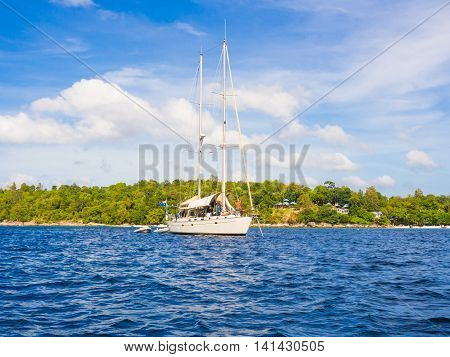 Luxury Yachts Sailing In Blue Ocean At Andaman Sea