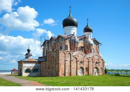 Vintage Trinity Cathedral of the Holy Trinity of Michael-Klopsk monastery, sunny june day. Novgorod region, Russia
