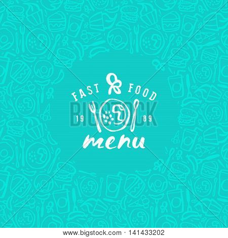 Stock vector fast food cover for menu. Print on green background