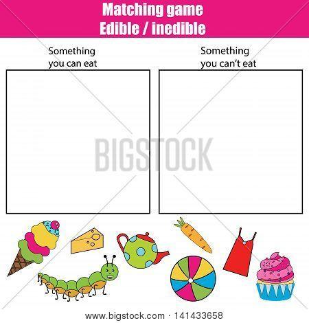 Edible inedible educational children game printable kids activity sheet