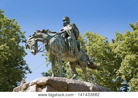 Monument to General Martinez Campos. It is located at Retiro Park Madrid Spain. It was designed by Mariano Benlliure and inaugurated on January 28 1907 poster
