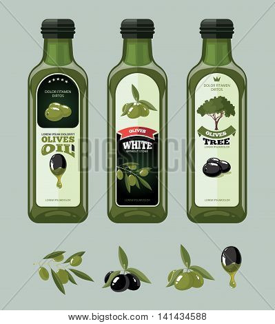 vector big labels set of Olives, tree, oil botles and leaf. Template emblems for your personal design project.