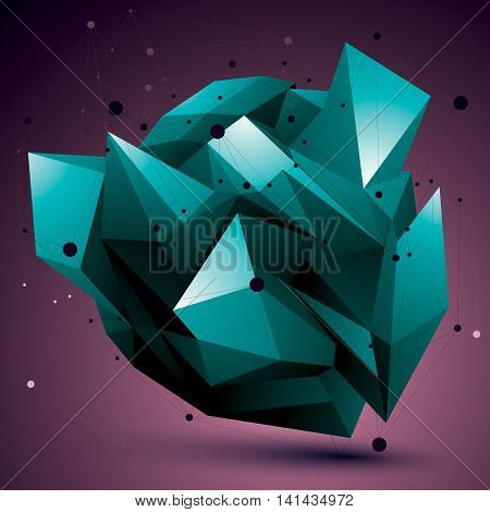 Colorful Complicated 3D Figure, Modern Digital Technology Style Form. Abstract Unusual Background.
