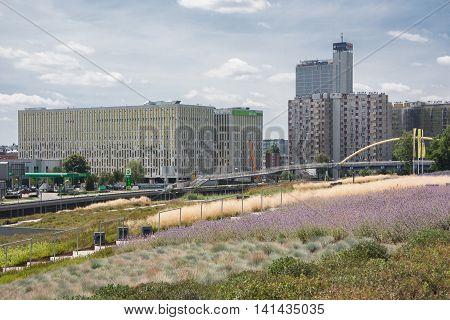 Katowice, Poland - July 10, 2016: Urban architecture Avenue Rozdzienskiego in Katowice.