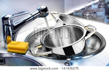 Washing tableware in sink with water in home