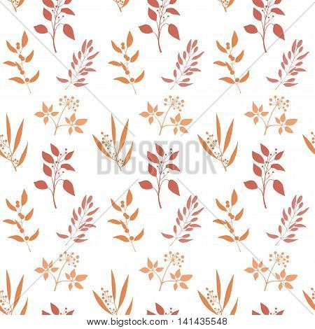 Seamless plant background. Endless pattern with orange twigs and leaves silhouette. Vector illustration on white background