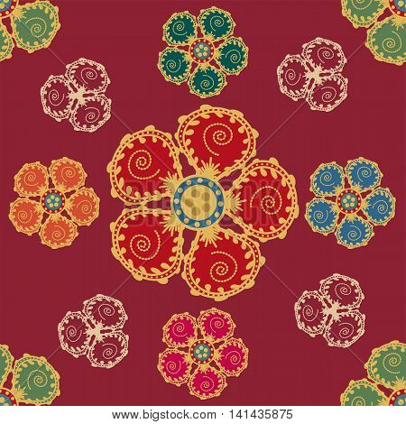 Seamless pattern with flowers in Middle Eastern style
