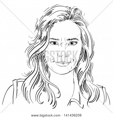 Artistic hand-drawn vector image black and white portrait of angry girl with wrinkles on her face.