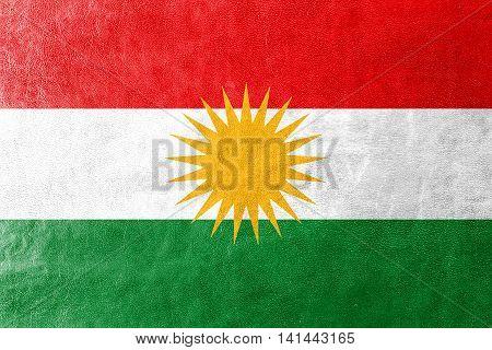 Flag Of Kurdistan, Painted On Leather Texture