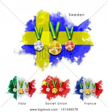 Glossy Gold, Silver and Bronze Medals with Sweden, Italy, Soviet Union and France Flags design on white background for Sports concept.