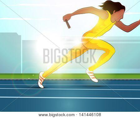 Illustration of female relay runner on race track, Creative Poster, Banner or Flyer design for Sports concept.