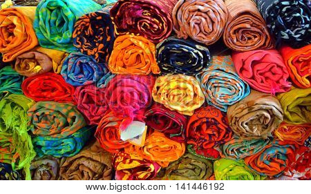 Display fabric rolls in fabric shop.Close up shotmore color and pattern fabric.