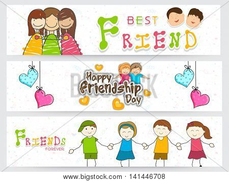 Creative Website Header or Banner set with cute cartoon characters for Happy Friendship Day celebration.