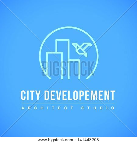 Vector flat city architect studio logo design isolated on blue background. Urban architect bureau insignia. Flying bird, city icon. Building company, construction industry brand mark icon.