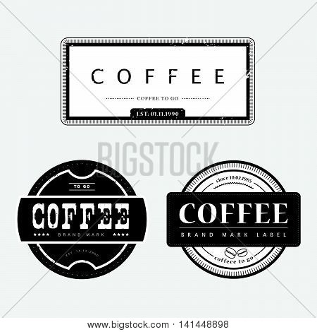 Vector vintage coffee shop emblem logo design isolated. Retro style coffee store label insignia template. Coffee bean sign. Coffee seed icon.
