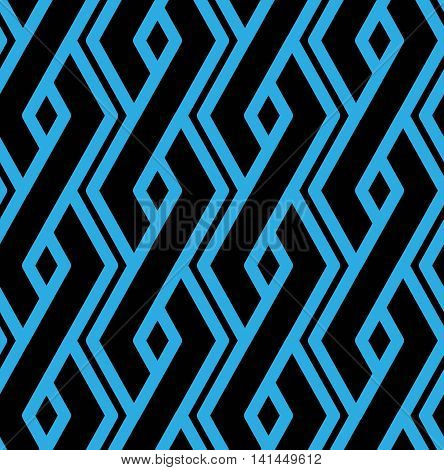 Colorful geometric overlay seamless pattern symmetric endless vector background with intertwine blue lines.