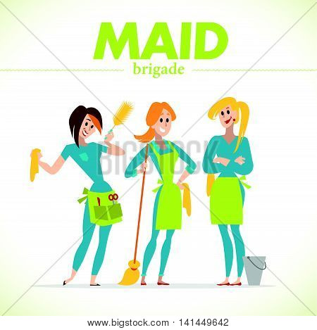 Flat profession characters. Human profession icon. Friendly, happy people portrait. Business team, working group, crew people set. Woman, girl, lady icon. Maid cleaning service. Cartoon style.