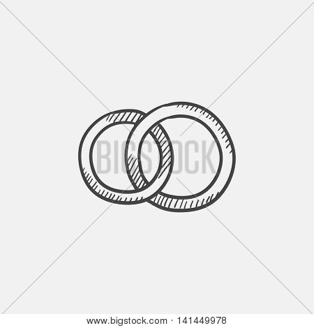 Wedding rings sketch icon for web, mobile and infographics. Hand drawn vector isolated icon.