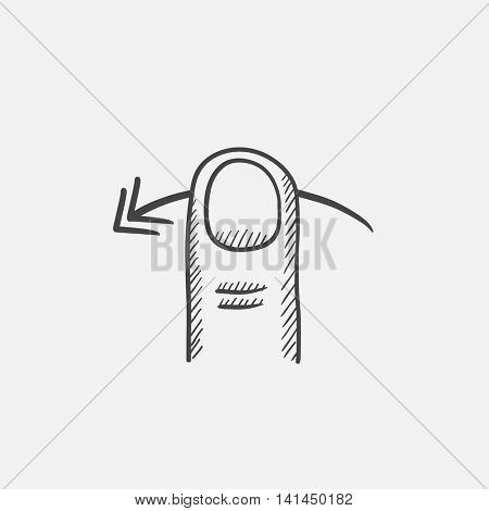 Swipe left sketch icon for web, mobile and infographics. Hand drawn vector isolated icon.