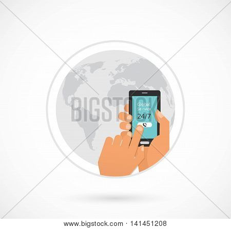 global online and call center and support. hand holding smartphone. vector illustration