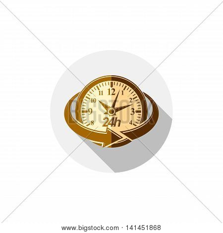 Twenty-four hours a day interface icon. Clock symbol isolated on white for use in advertising.