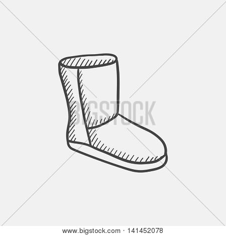 Fuzzy winter boot sketch icon set for web, mobile and infographics. Hand drawn vector isolated icon.