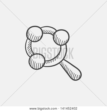 Baby rattle sketch icon for web, mobile and infographics. Hand drawn vector isolated icon.