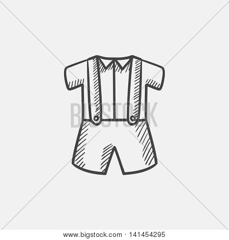Baby shirt and shorts with suspenders sketch icon for web, mobile and infographics. Hand drawn vector isolated icon.