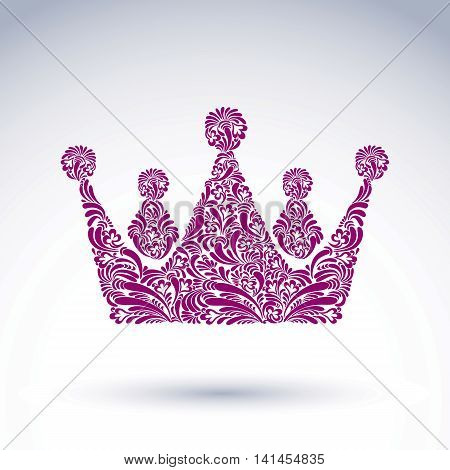 Flower-patterned decorative purple crown art royal symbol. King coronet
