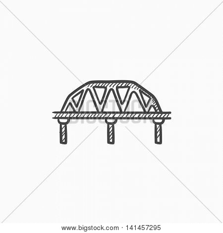 Rail way bridge vector sketch icon isolated on background. Hand drawn Rail way bridge icon. Rail way bridge sketch icon for infographic, website or app.