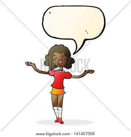 cartoon woman taking praise with speech bubble