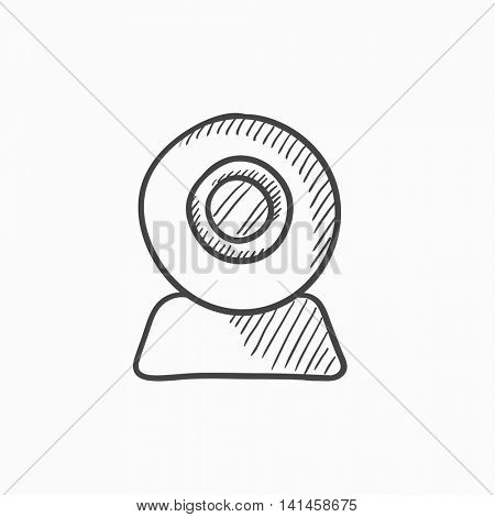Web camera vector sketch icon isolated on background. Hand drawn Web camera icon. Web camera sketch icon for infographic, website or app.